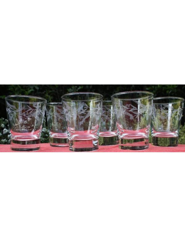 Set de 6 vasos bajos tallados ramitas