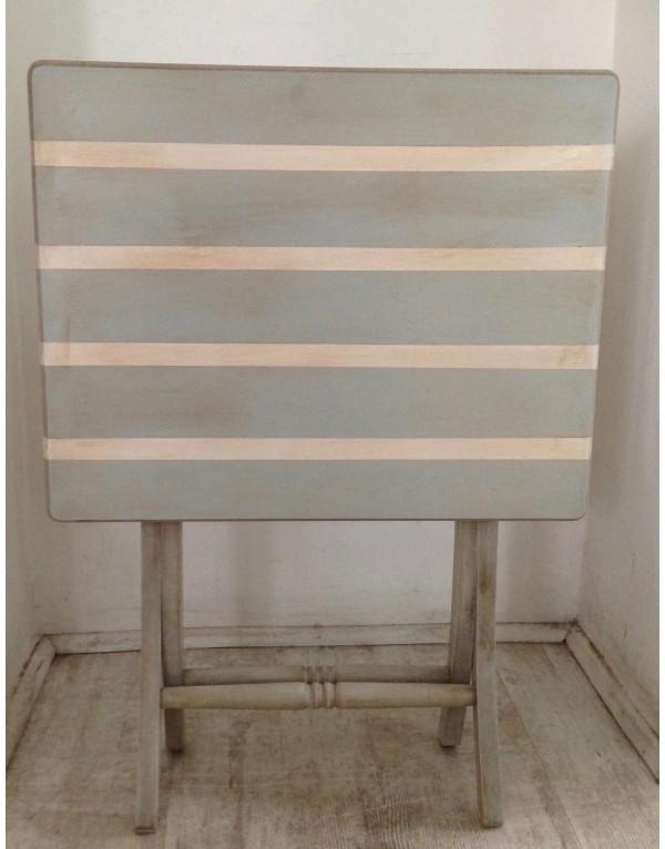 Mesa plegable rayada celeste rectangular