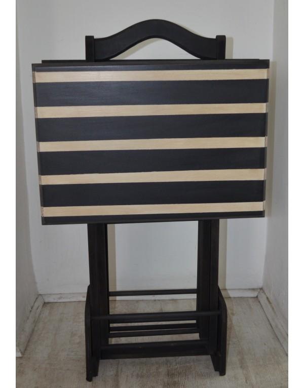 Set de mesas plegables rayadas negras