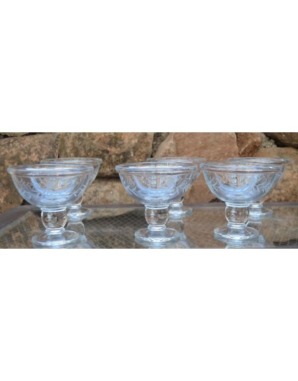 Set de 6 copas de postre talladas imperial