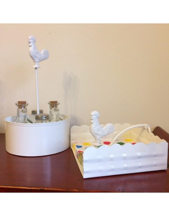 Servilletero gallo blanco