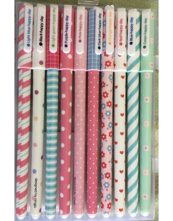 Set de 10 lápices tinta de diferentes colores