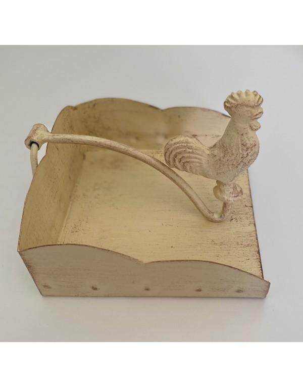 Servilletero cóctel gallo blanco albayalde