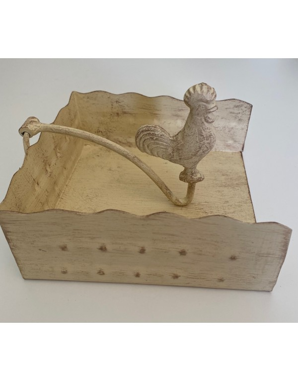 Servilletero mesa gallo blanco albayalde