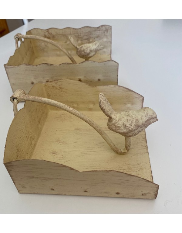 Servilletero mesa pajarito blanco albayalde