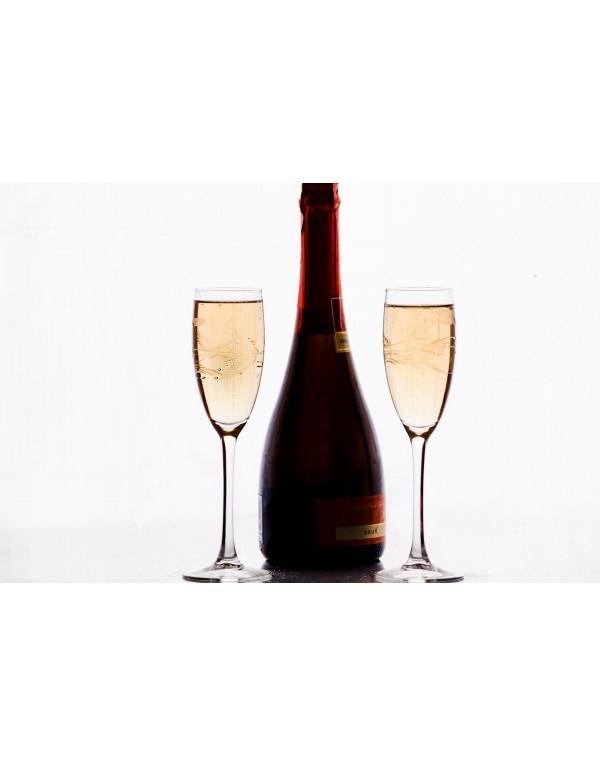Set de 6 copas champagne talladas ramitas